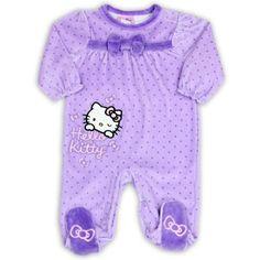 Hello Kitty Baby Baby-Girls Newborn Purple Velour Sleep and Play, Purple, Newborn, Hello kitty purple sleep and play, velour applique with embroidery, #Apparel, #Footies