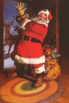 In famed Chicago commercial illustrator Haddon Sundblom painted a jolly, red-garbed Santa Claus for the Coca-Cola Company's 1931 advertising campaign. His depictions of the Coca-Cola Santa, formed America's perception of what Santa Claus looks like. Christmas Scenes, Noel Christmas, Father Christmas, Retro Christmas, Christmas Decor, Christmas Villages, Victorian Christmas, Primitive Christmas, Antique Christmas