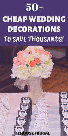 Planning a classy wedding on a budget is easier than you think! These easy cheap wedding decorations are perfect in helping you find ways to save money on wedding. You don't need to throw money away to have a beautiful wedding reception on a budget! These unique and cheap wedding ideas will save you thousands. Click through to read these amazing budget wedding hacks. #cheapwedding #budgetwedding #frugalwedding Frugal, Wedding Reception On A Budget, Reception Ideas, Wedding Decorations On A Budget, Wedding Centerpieces Cheap, Table Decorations, Wedding Day Timeline, Free Wedding, Simple Weddings