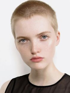 A current crop of shorn models demonstrate that, without adornment, a pixie haircut is alluringly androgynous. (Photo: Sophia Sabados/Elite London)