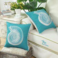 White Sea Shells Print On Teal Blue Pillow- Beachy Throw Pillow