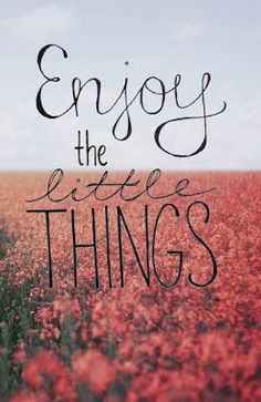 Enjoy little things.