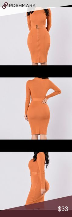 Minimal Effect Dress Minimal Effect Dress - Pumpkin, Fits more like a L Fashion Nova Dresses Midi