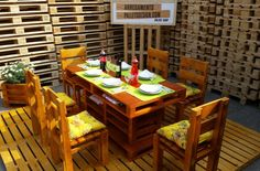 Euro pallet wood pallet garden furniture dining table chairs