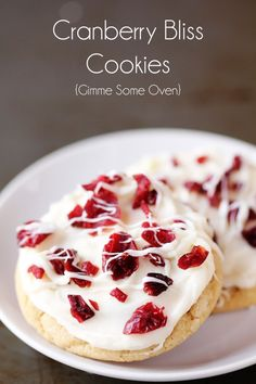 """All of the goodness of the popular """"Cranberry Bliss Bars"""" -- baked into this delicious cranberry bliss cookie recipe!"""