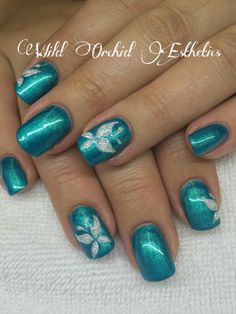 Butterfly nail art. Gel nails. Turquoise Aqua