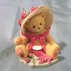 Cherished Teddies you're Sweet As A Rose Janet Bear Figurine Avon Exclusive