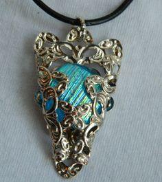 Shimmer Blue Fused Glass Dichroic Dragon Head by uniquenique, $25.00 #onfireteam #lacwe #fest #tbec #dragon head #pendant #jewelry #accessories