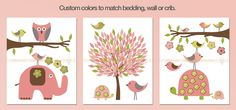 Pink and lime green zoo animals nursery wall art decorations for baby girls room. Elephant, owl, birds, turtle and tree theme, inches ea. Customized colors and themes. Owl Nursery, Nursery Wall Art, Wall Art Decor, Wall Art Prints, Room Decor, Nursery Organisation, Tree Stencil, Baby Boy Or Girl, Pink Elephant