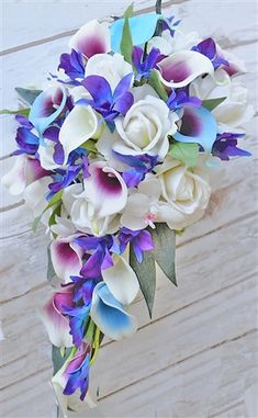 Hot Pink Fuchsia Picasso Wedding Bouquet Select Ribbon and Pin Colors Three Dozen Real Touch Artificial Calla Lilies