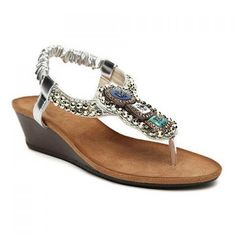 Bohemia Beaded and Flip-Flop Design Women's Wedge Sandals, SILVER, 39 in Sandals | DressLily.com