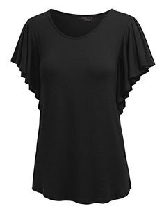 MBJ WT1198 Womens Round Neck Short Ruffle Sleeve T Shirt S BLACK - Womens Round Neck Short Ruffle Sleeve Top