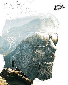 Portrait edit by @nameleak #dianasfavorite #doubleexposure #dianaphotoapp #silhouette #portrait #man #mountain #birds