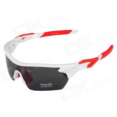 CARSHIRO T9369-C5 Outdoor Cycling Polarized UV400 Protection Sunglasses Goggles - White   Red Price: $15.40