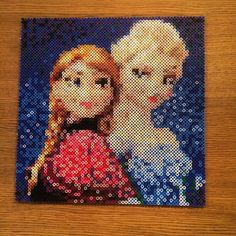 Anna and Elsa - Disney Frozen perler bead art by artbyfredd
