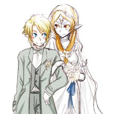 Link and Midna mariage! Midna white dress version :) I don't ship this but I thought the picture was super cute!