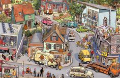 15 Illustrations You Want to Get Lost in by Peter Knorr Exam Pictures, Picture Writing Prompts, Bright Pictures, Hidden Pictures, Picture Story, Cartoon Art Styles, Picture Description, City Art, Cute Illustration
