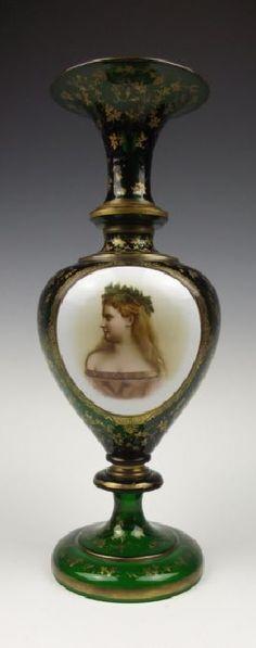Josephinenhutte Silesian overlay portrait green glass vase
