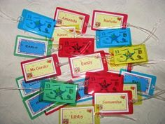 Mementos designs...back pack tags for kids!  One for each of my sons classmates.