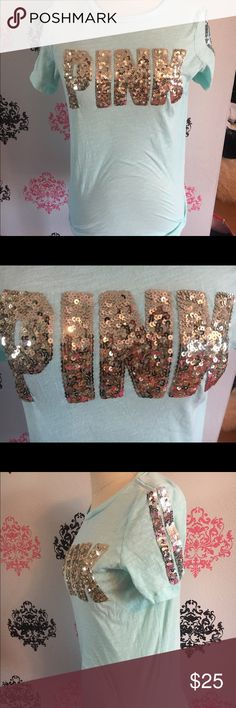 Victoria secret pink small bling tee pINK bling tee size small. Has gold and silver bling. Very flashy!  All my items with increase in price due to new seller fee Victoria Secret, PINK, Bke, Rock revivals, miss me, true religion, express, buckle, affliction, sinful check out my closet! Ugg Australia. The North face PINK Victoria's Secret Tops Tank Tops