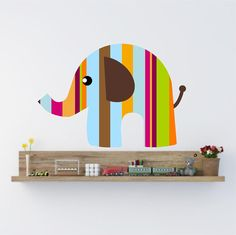 Kids Elephant Wall Decal in colorful stripes Nursery by Popitay, $28.00