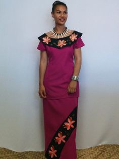 Pink & Black Off-shoulder Frangipani Puletasi