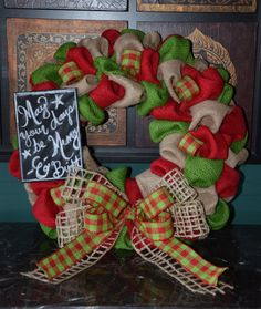 Christmas Wreath  Burlap Wreath  Etsy by SouthernChicCouture, $45.00