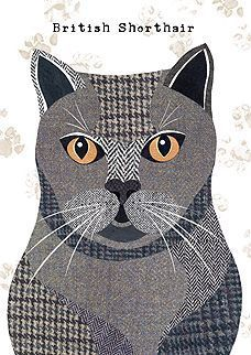 British Shorthair Cat Greetings Card by SimonHartArtist on Etsy – British Shorthair Cat Greetings Card by SimonHartArtist. Applique Cushions, Cat Applique, Applique Quilts, Embroidery Applique, Dog Quilts, Animal Quilts, Baby Quilts, Cat Quilt Patterns, Applique Patterns