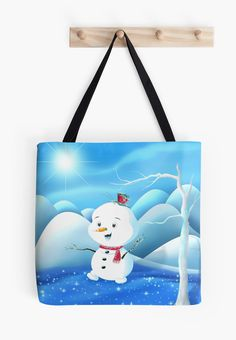 'Snowbaby on Sparkling Ice' Tote Bag by We ~ Ivy Green Theme, Presents For Friends, Makeup Pouch, Decor Ideas, Gift Ideas, My Themes, Website Themes, Good Cause, Sparkling Ice