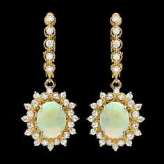 14k Gold 3.00ct Opal 1.65ct Diamond Earrings : Lot 125