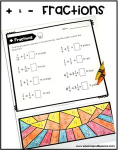 Students can practice adding and subtracting fractions with these 3 color by code coloring activities. The first worksheet has 8 problems that involve. Addition Of Fractions, Adding Fractions, Adding And Subtracting Fractions, Addition And Subtraction, Teaching 5th Grade, 5th Grade Classroom, Teacher Blogs, Color Activities, To Color