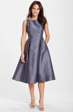 With a belt- Adrianna Papell Sleeveless Mikado Fit & Flare Midi Dress available at #Nordstrom