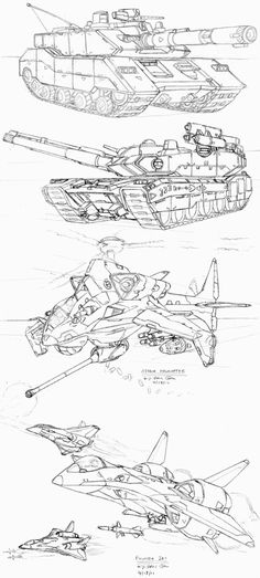 Some rough sketches for practice. Did a couple of tanks, a Vtol, and a jet. Still learning the fundamentals of aerial vehicles, although am making some progress at visualizing rounded aerodynamic s...