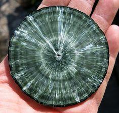 In our permanent collection. A perfect Seraphinite slice mined in Korzunovskoe, Irkutskaya Oblast', Russia. 1970 https://goldenhourminerals.com/shop