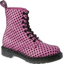 Martens Pascal 8 Eye Boot Print - Candy Pink Softy T/black Dot Flock Pink Purple, Hot Pink, Black Dots, Pink Black, My Beautiful Daughter, Pink Candy, Doc Martens, My Favorite Color, Rubber Rain Boots