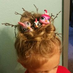 crazy hair day ideas Yahoo Image Search Results - Kids Audio Books - ideas of K. crazy hair day id Crazy Hair Day Girls, Crazy Hair For Kids, Crazy Hair Day At School, Crazy Hat Day, Crazy Hats, Holiday Hairstyles, Cute Hairstyles, Wacky Hairstyles, Bird Nest Hair