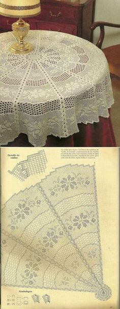 El mantel por el gancho | Knitting club\/\/nitin klab Crochet Table Topper, Crochet Tablecloth Pattern, Crochet Flower Patterns, Crochet Stitches Patterns, Thread Crochet, Filet Crochet Charts, Crochet Diagram, Crochet Motif, Crochet Doilies