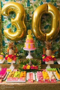 Over-sized number balloons are a great way of making a statement for a celebration. They are fun, quirky and inexpensive, don't hide them in a corner, use them