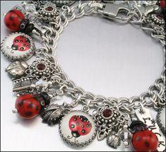 Ladybug Charm Bracelet Silver Charm Bracelet by BlackberryDesigns, Silver Charm Bracelet, Silver Charms, Sterling Silver Bracelets, Charm Bracelets, I Love Jewelry, Charm Jewelry, Jewelry Ideas, Black Ladybug, Ladybug Girl