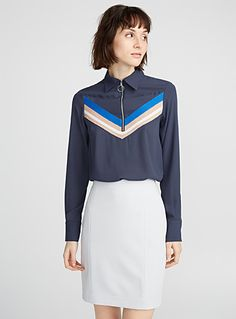 Sports club-stripe blouse | Icône | Shop Women's Fluid Blouses | Simons