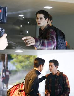 """first look at dylan o'brien in teen wolf season 6. The """"new"""" Teen Wolf BTS photos of Dylan O'Brien are not actually new. The headlines are (purposefully) misleading. Everything shown was filmed well before his accident, and he has not been back on set since. But he is going to be back filming next week and I'm really excited about this!"""