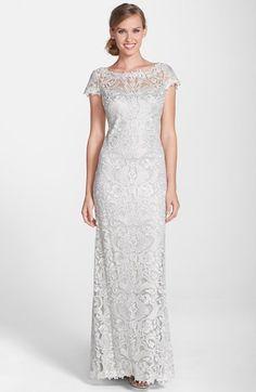 Womens Tadashi Shoji Lace Column Gown Size 6 - Metallic $558.00 AT vintagedancer.com