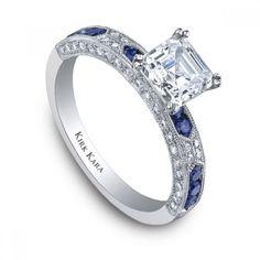 Kirk Kara Amelia Diamond and Sapphire Engagement Ring