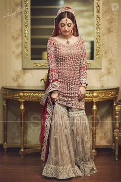 Pakistani Bridal Dresses 2017 2018 for Wedding Parties 7 Pakistani Bridal Dresses Online, Bridal Dresses 2018, Pakistani Wedding Outfits, Pakistani Bridal Wear, Bridal Outfits, Indian Bridal, Indian Dresses, Pakistani Sharara, Bride Dresses