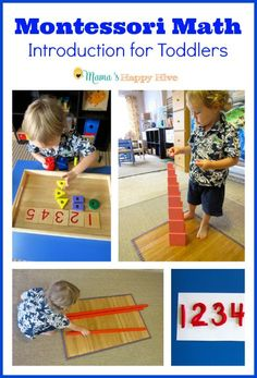 Please enjoy several activities for introducing Montessori math to toddlers. This is part of the 12 months of Montessori Learning series! - www.mamashappyhive.com