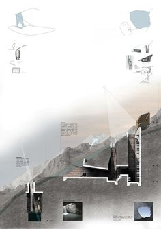 Architecture section rendered in photoshop of the Bridge of Alchemy, Atlas Mountains, Morocco Architecture Design, Architecture Presentation Board, Architecture Panel, Presentation Layout, Architecture Graphics, Architecture Drawings, Landscape Architecture, Landscape Concept, Presentation Boards