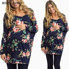 88fd4115426e8 MODENGYUNMA Pregnant Maternity New Long Sleeve Round Neck Maternity Clothes  Medium And Long Section Pregnancy Tee Shirt Vestidos