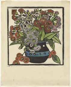Artist: PRESTON, Margaret   Title: Gum blossoms   Date: 1928   Technique: woodcut, printed in black ink, from one block; hand-coloured   Copyright: © Margaret Preston. Licensed by VISCOPY, Australia from Australian Prints + Printmaking.
