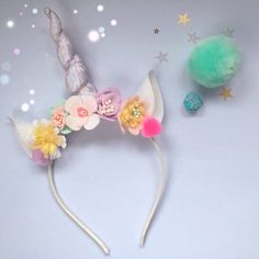 Unicorn Horn Flower Crown Headband
