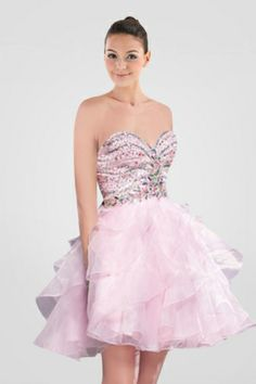 lovely-pink-strapless-short-princess-graduation-gown-featuring-beaded-bodice-and-tiered-ruffle-skirt